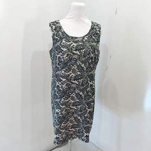 Van Heusen Sz 12 Dress Black Beige Midi Career